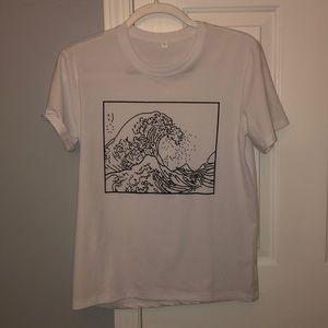 white wave t shirt
